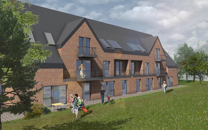 Zeichnung des geplanten Wohngebiet an der Mühle