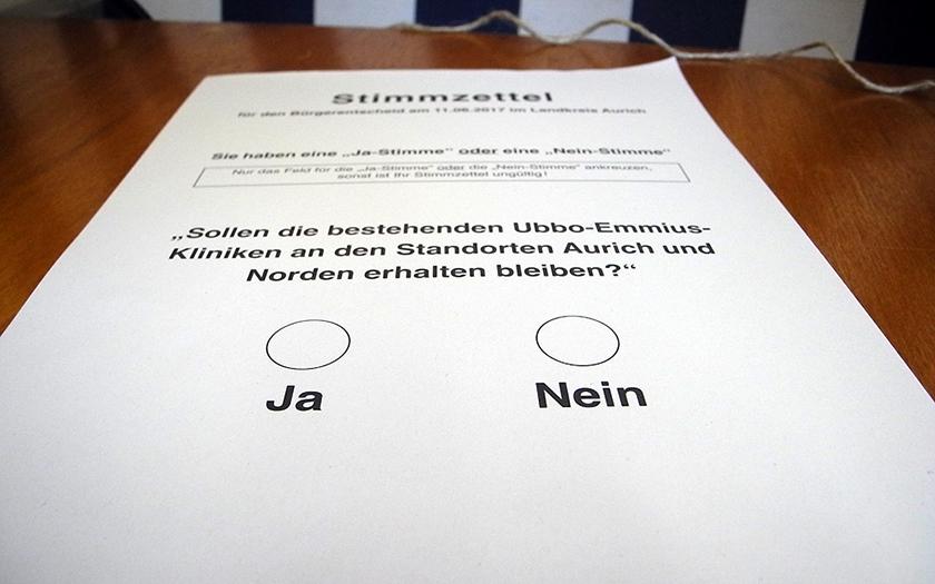 Stimmzettel zur Zentralklinik
