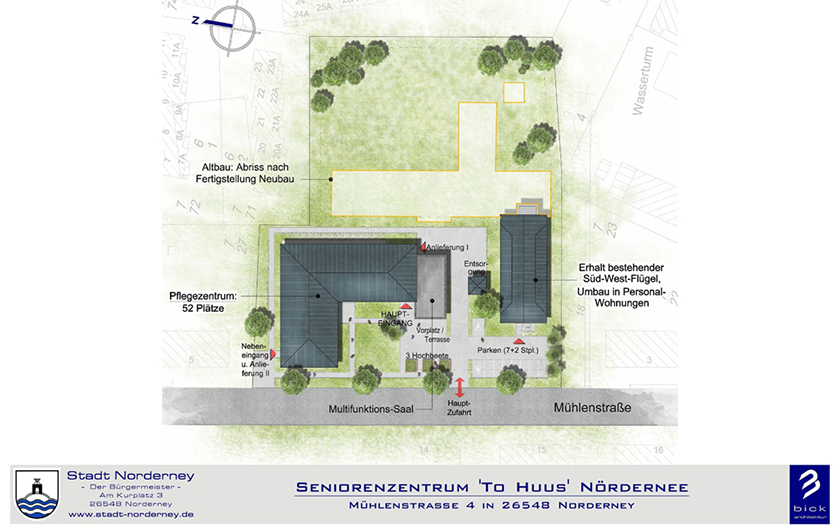 Übersichtsplan vom Neubau des Seniorenzentrums in der Mühlenstraße