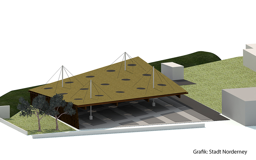 Skizze vom zukünftigen Fahrrad-Parkhaus