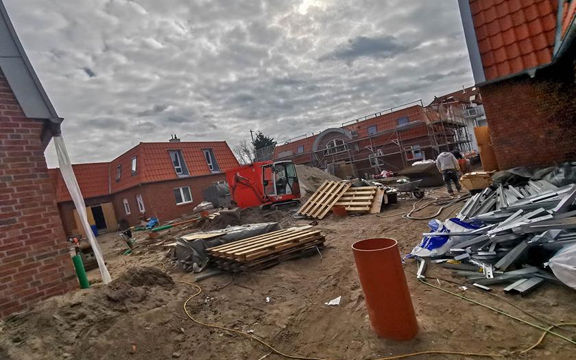 Ein Blick in die Baustelle zur Gartenstadt