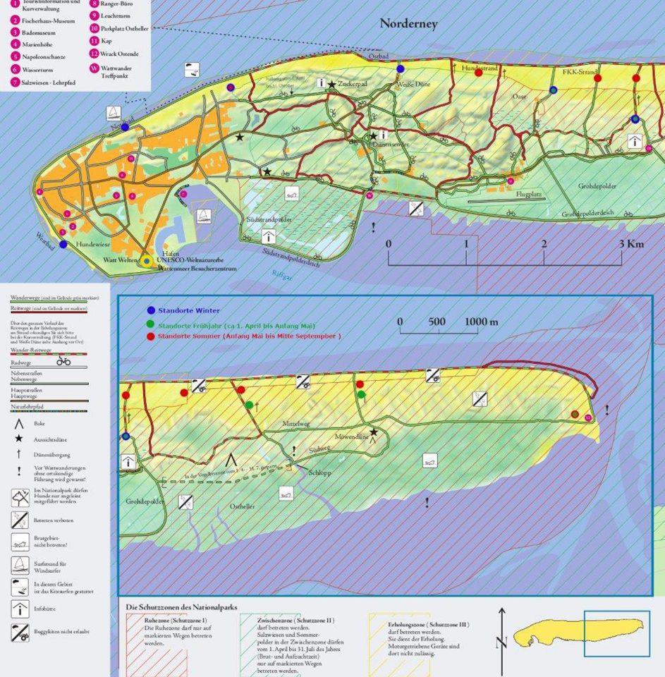 Übersicht über Strandmüllboxen im Norderneyer Inselosten