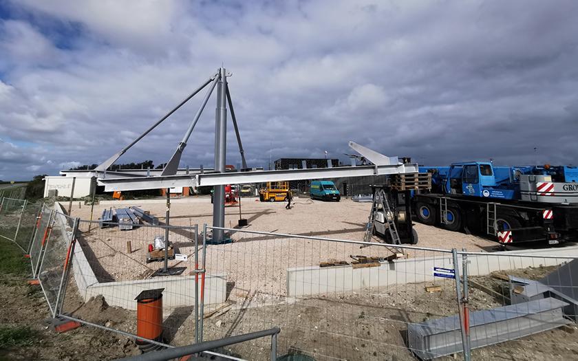 Fahrradunterstand am Hafen ist im Bau