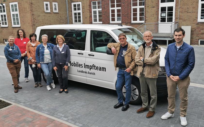 Das mobile Corona-Impfteam des Landkreises Aurich an der KGS Norderney